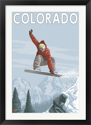 Framed Colorado Snow Boarding Ad Print