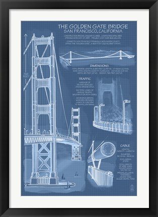Framed Golden Gate Bridge Plans Print