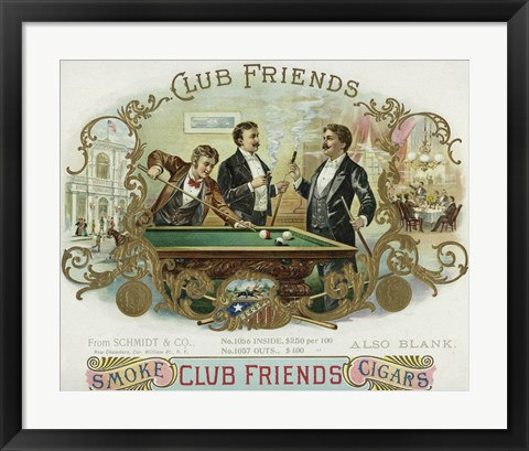 Framed Club Friends Cigars Print