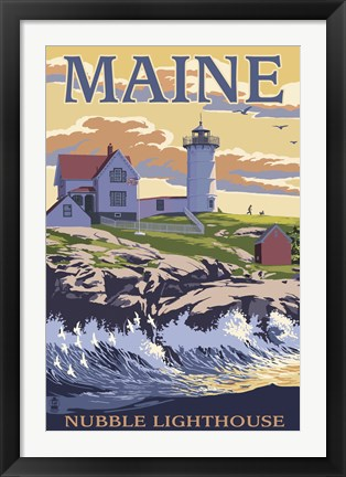 Framed Nubble Lighthouse Ad Print