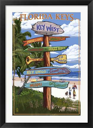 Framed Florida Keys Sign Ad Print
