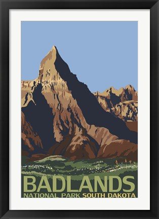 Framed Badlands National Park Ad Print