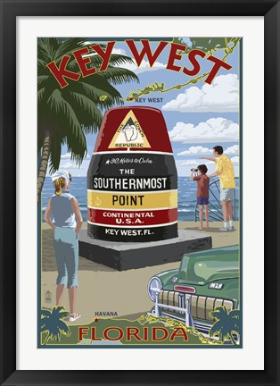 Framed Key West Southernmost Point Print