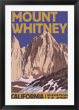 Framed Mount Whitney Elevation Print