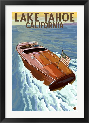 Framed Lake Tahoe California Boat Print