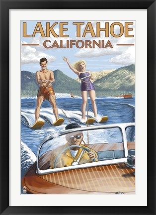 Framed Lake Tahoe California Water Ski Print
