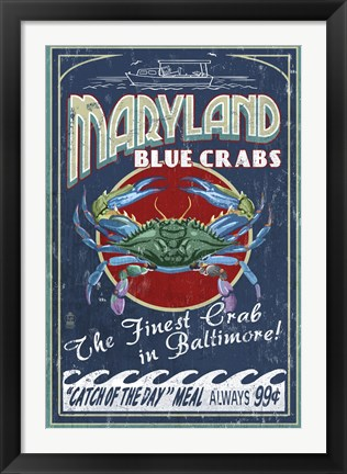 Framed Maryland Blue Crabs Print
