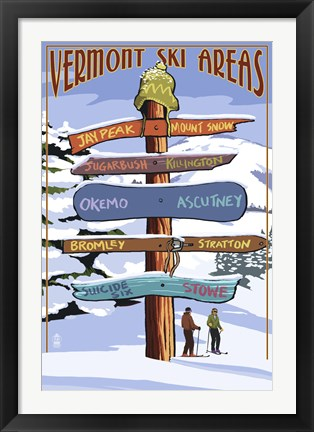 Framed Vermont Ski Areas Signs Print