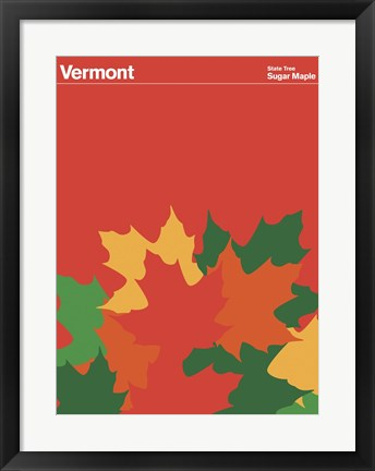 Framed Montague State Posters - Vermont Print