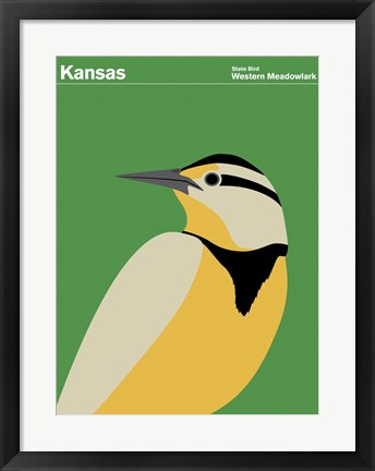 Framed Montague State Posters - Kansas Print