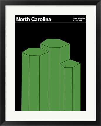 Framed Montague State Posters - North Carolina Print