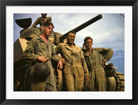 Framed Tank Crew leaning on M-4 tank, Ft. Knox, KY Print