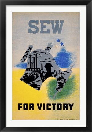 Framed Sew for Victory Print
