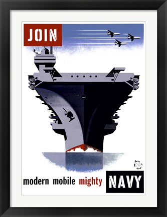 Framed Join the Navy, Modern Mobile Mighty Print