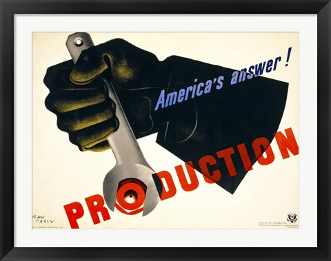 Framed Production, America's Answer! Print