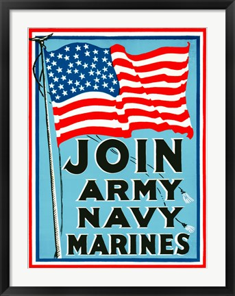 Framed Join Army Navy Marines Print