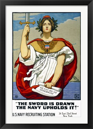 Framed Sword is Drawn, the Navy Upholds It! Print