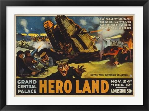Framed Hero Land, WWI Movie Poster Print