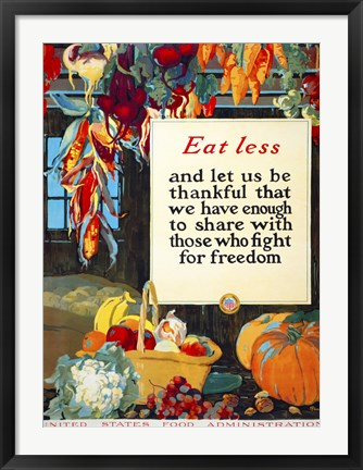 Framed Eat Less, and Let us be Thankful Print