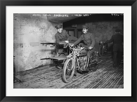 Framed Indian Motor Cycle Ambulance Print