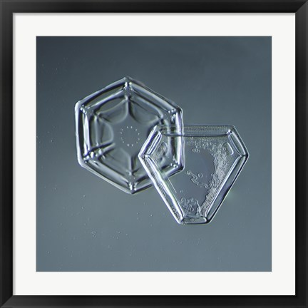 Framed Hexagonal and Triangular Plate Snowflakes 005.2.9.2014 Print