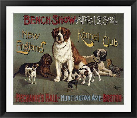 Framed Bench Show. New England Kennel Club Print