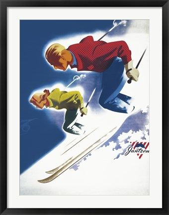 Framed Jantzen by Binder Man and Women, Ski 1947 Print