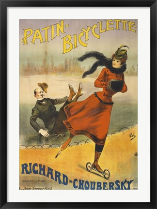 Framed Patin-Bicyclette - Richard-Choubersky Print