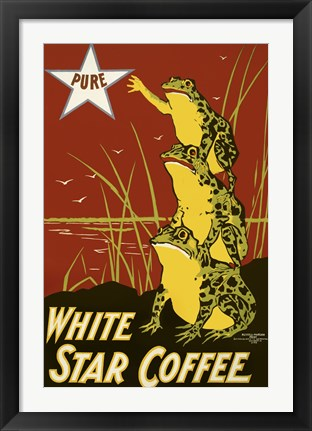 Framed Pure White Star Coffee, Frogs Print