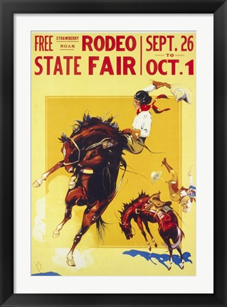 Framed Rodeo State Fair Roan, Two Cowgirls Print