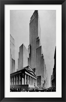 Framed Temples of Commerce, Brown Bros. Print