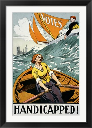 Framed Women's Suffrage, Handicapped, London! Print