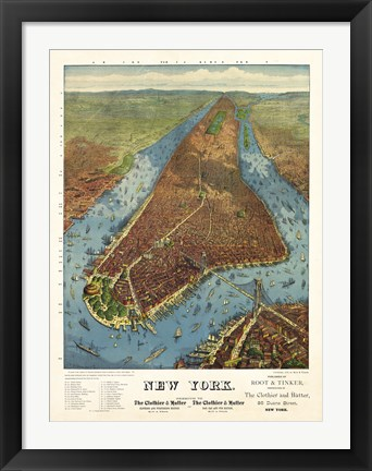 Framed Aerial Map for Root & Tinker of New York Print