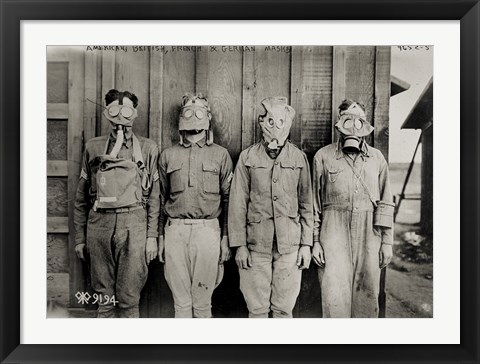 Framed American, British, French & German Gas Masks Print