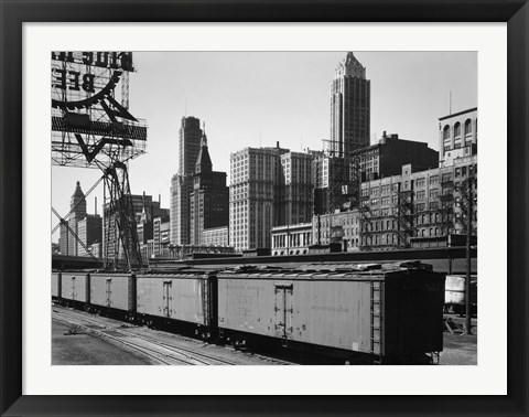 Framed Chicago Skyline from Water Street Print
