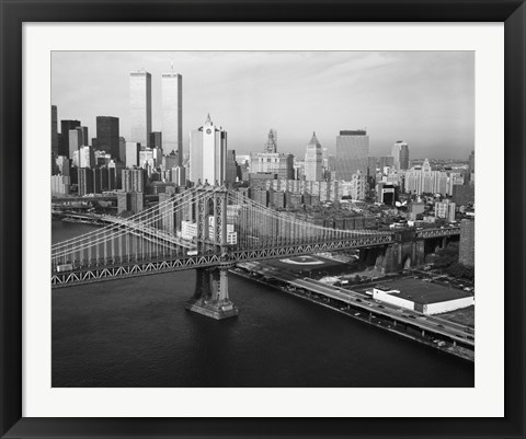 Framed Manhattan Bridge with Twin Towers behind Print