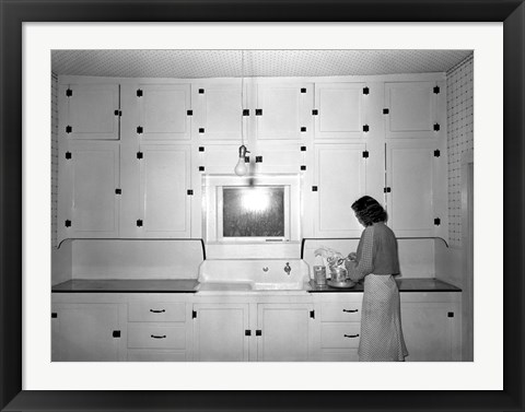 Framed Modern Rural Kitchen 1930's Print