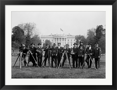 Framed Press Correspondents and Photographers on White House Lawn Print