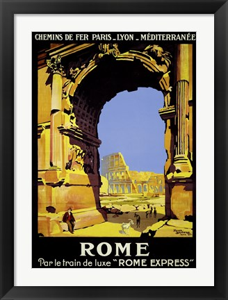Framed Rome Express Rome, Par le Train de Luxe Print