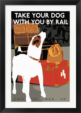 Framed Dog by Rail Print