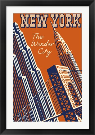 Framed NY the Wonder City Print