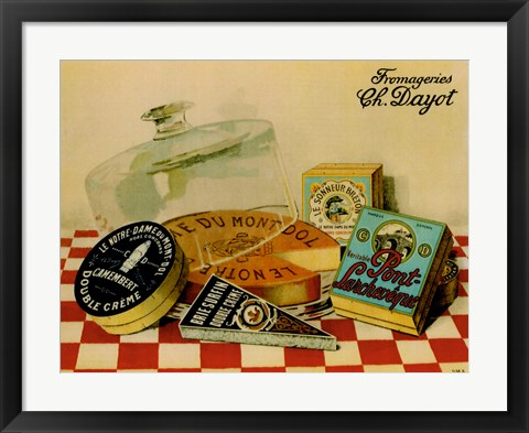 Framed Vintage Cheese - Fromage Print