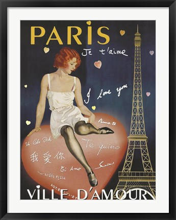 Framed Paris I Love You Print