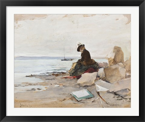 Framed Painter At The Beach Print