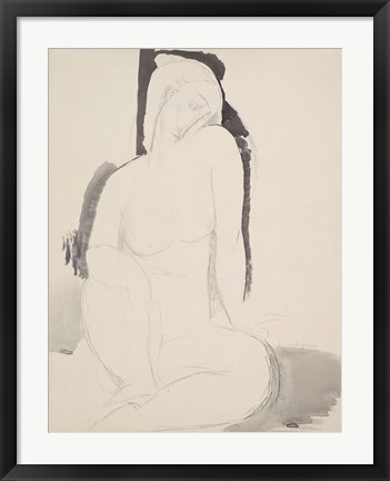 Framed Seated Nude Print