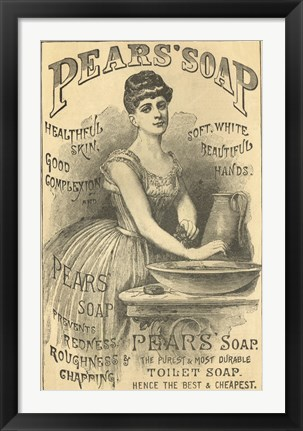 Framed Pears Soap Washbowl Print
