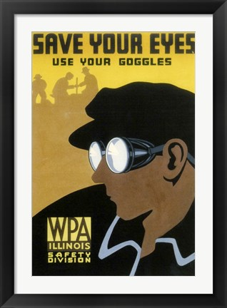 Framed WPA Save Your Eyes Print