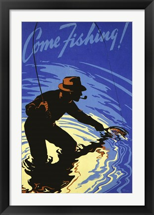 Framed Come Fishing Print