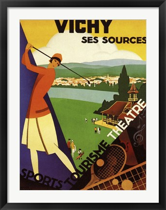 Framed Vichy Ses Sources Print