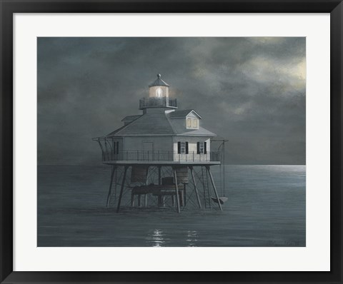 Framed Moonlight At Middle Bay Light Print
